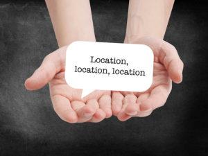 Location, Location, Location written on a speechbubble